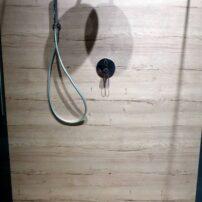 Rustic, wood-look shower