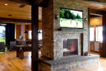 In this beautiful game room, a golf simulator/home theater system was installed along with multiple custom Focal in-ceiling speakers and JL Audio subwoofers. This entertainment can easily be controlled with keypads or one-touch, universal, hand-held remote controls.