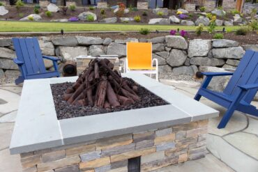 Cozy fire pit enhanced with custom-designed barrel speakers. The subwoofer satellite-speaker system provides a very warm, full-range music presentation even when played at a low volume.