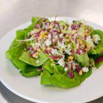 Butter lettuce salad; frisée, bleu cheese crumbles, huckleberry vinaigrette, toasted pine nuts