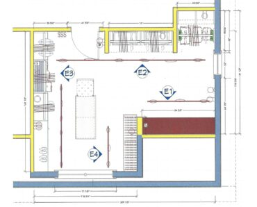 Closet floor plan and wall elevation renderings — Not to scale.These renderings are of the general appearance of the design. They are not intended to be the exact rendition. (Renderings courtesy A Kitchen That Works LLC)