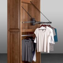 Motorized wardrobe lift from Hafele in active position