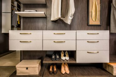Recycled leather drawer fronts and veneer shelves by Ecodomo