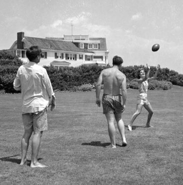 Tossing a football and engaging in a game of touch football were favorite pastimes of 35th President John F. Kennedy and his family.