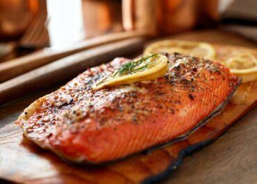 salmon on cedar