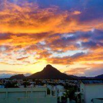 Sunset behind Corps de Garde Mountain