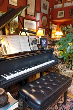 Concert grand piano nestled in behind main seating