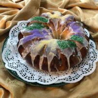 Mardi Gras Kings Cake ready to serve