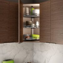 Another upper-cabinet unit, a Lazy Susan offers an offset post located in the back vs. the center — for more storage than a traditional design.
