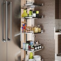 For a pantry idea, this unit pulls all the way out and independently of the door, with access to three sides. All shelves have adjustable heights and will hold up to 285 pounds.
