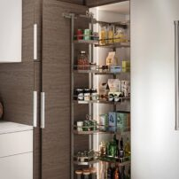 Another pantry idea, with shelves on the door supported by the cabinet floor and not by hinges. The back shelves pull forward with adjustable heights and will hold up to 185 pounds.