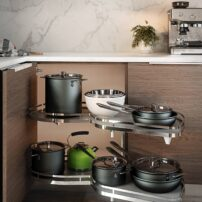 This blind-corner unit is one of the best on the market. It has two adjustable, kidney-shaped shelves that pull all the way out smoothly and effortlessly. It holds 55 pounds per shelf and is also available as an upper-cabinet unit.