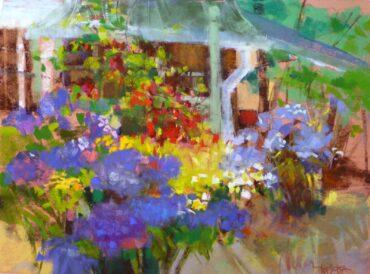 """In a Garden,"" pastel by Pat Meras"