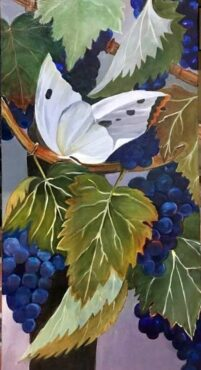 """""""Butterfly with Grapes,"""" acrylic by Lynn Guenard"""