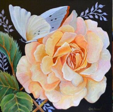 """""""Rose with Butterfly,"""" acrylic by Lynn Guenard"""