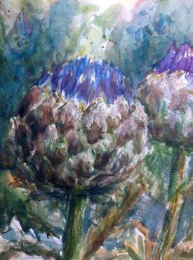 """Artichoke,"" watercolor by Cathie Johnson"