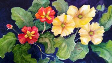"""""""Primroses,"""" watercolor by Myrna Binion"""