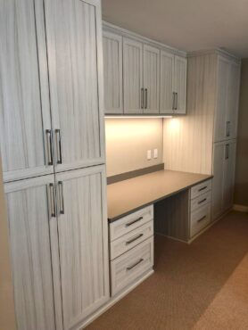 Built-in desk and storage wall