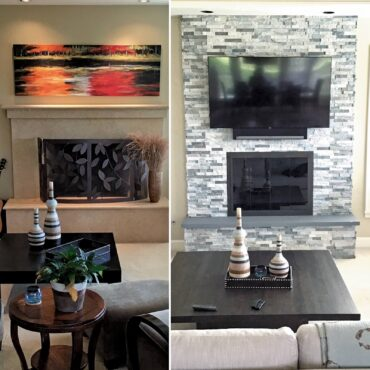 Before and after  — adding textural stone and a TV