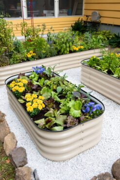 Some raised beds have built-in water reservoirs to extend the time between watering. (Photo courtesy of Gardener's Supply Co.)