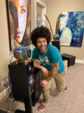 Cory Bennett Anderson with painted Barrel speakers from Nuts About Hi-Fi