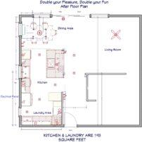 Kitchen, dining and laundry floorplan