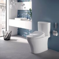 Toto two-piece, skirted Aquia IV Cube washlet in cotton white