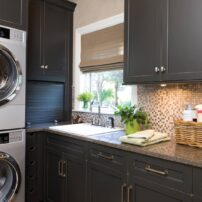 Leave no space underutilized — note corner appliance garage. (Photo courtesy Dura Supreme Cabinetry)